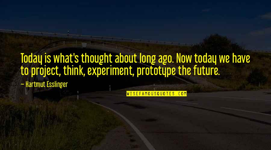 Thinking Too Much About The Future Quotes By Hartmut Esslinger: Today is what's thought about long ago. Now