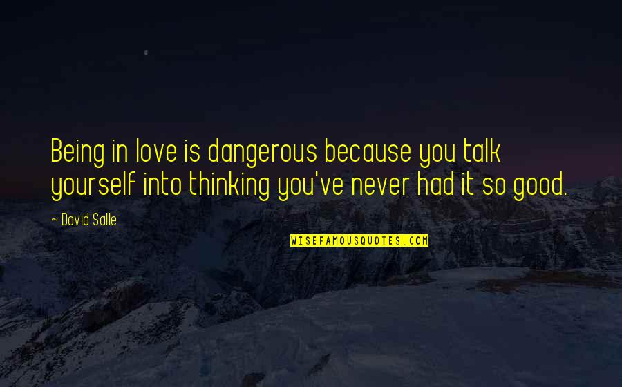 Thinking You're In Love Quotes By David Salle: Being in love is dangerous because you talk