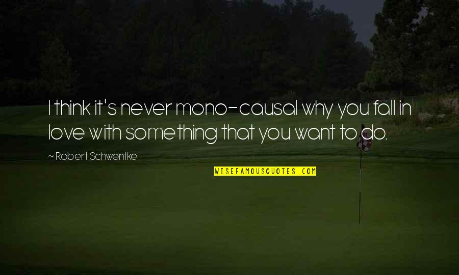Thinking You're In Love Quotes By Robert Schwentke: I think it's never mono-causal why you fall