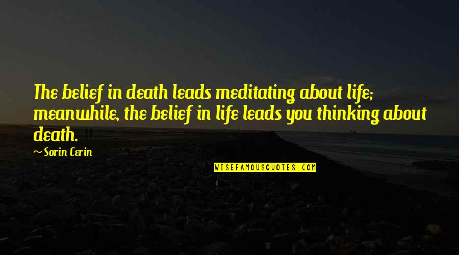 Thinking You're In Love Quotes By Sorin Cerin: The belief in death leads meditating about life;