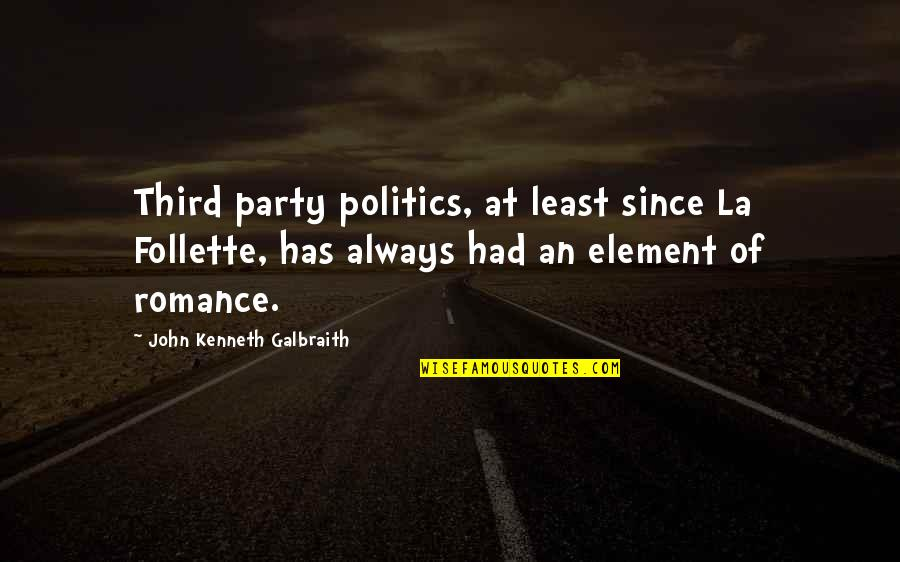Third Party Quotes By John Kenneth Galbraith: Third party politics, at least since La Follette,