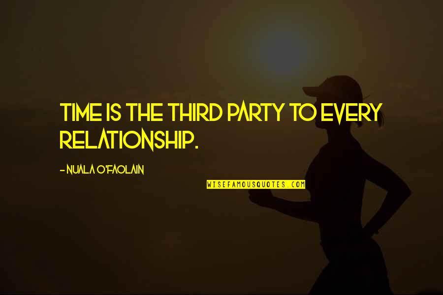 Third Party Quotes By Nuala O'Faolain: Time is the third party to every relationship.