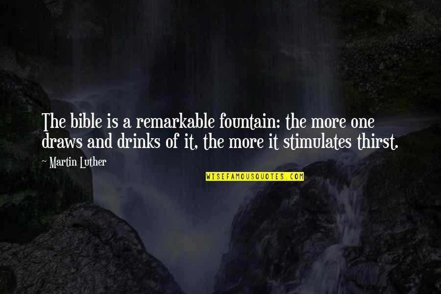 Thirst No.1 Quotes By Martin Luther: The bible is a remarkable fountain: the more
