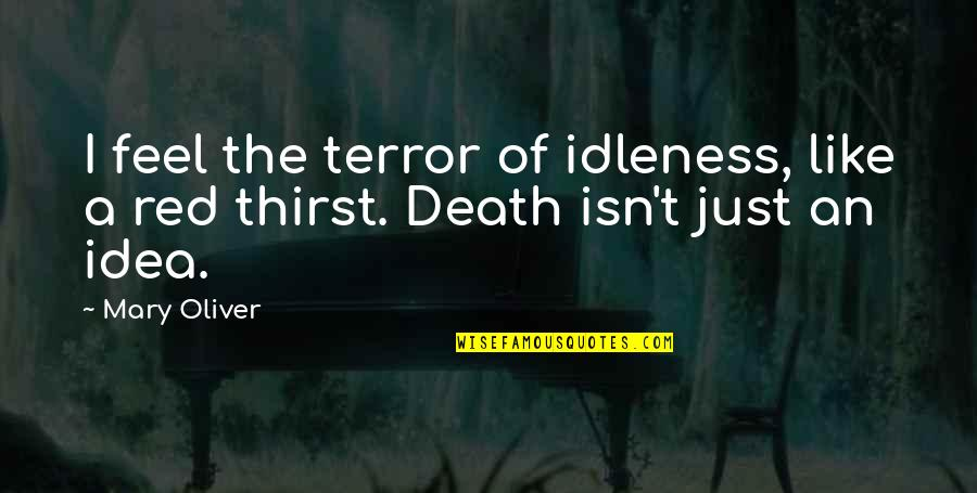 Thirst No.1 Quotes By Mary Oliver: I feel the terror of idleness, like a