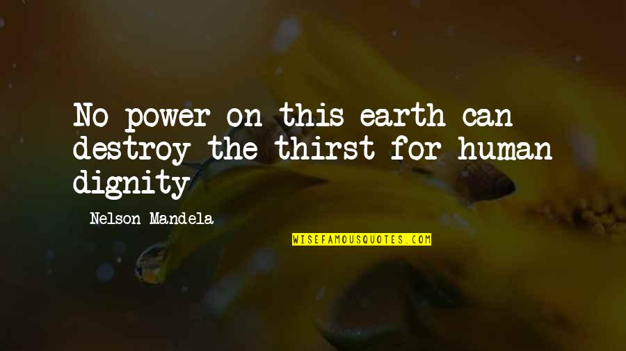 Thirst No.1 Quotes By Nelson Mandela: No power on this earth can destroy the