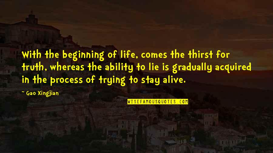 Thirst Quotes By Gao Xingjian: With the beginning of life, comes the thirst