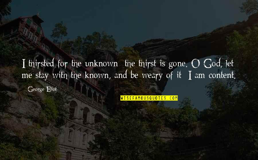 Thirst Quotes By George Eliot: I thirsted for the unknown: the thirst is