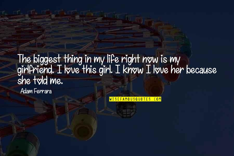 This Is Me Now Quotes By Adam Ferrara: The biggest thing in my life right now