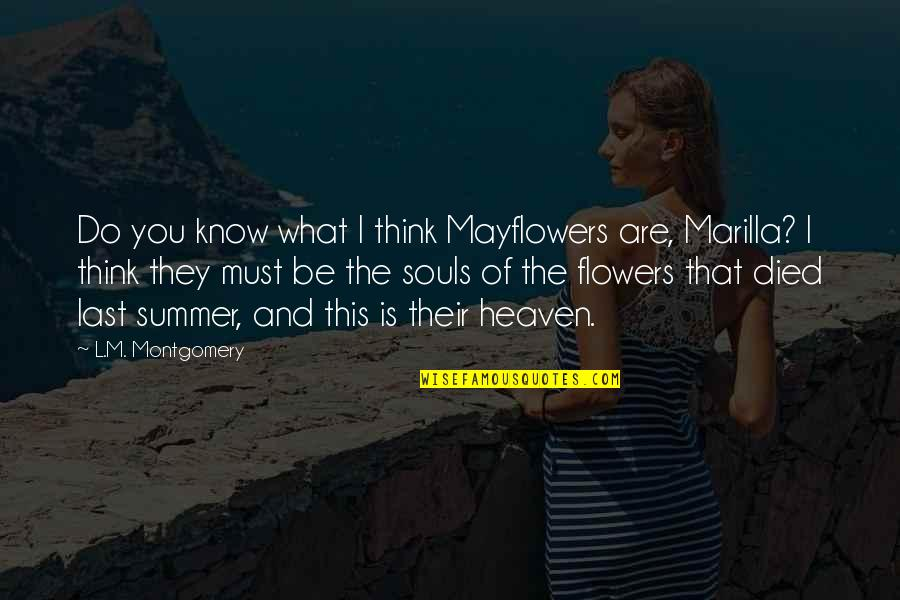 This Is What I Think Of You Quotes By L.M. Montgomery: Do you know what I think Mayflowers are,