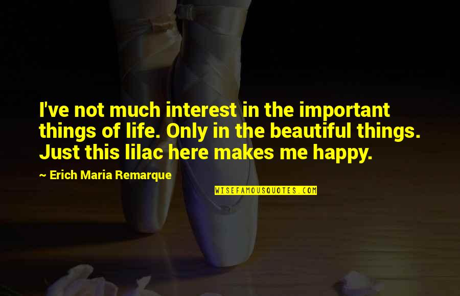 This Makes Me Happy Quotes By Erich Maria Remarque: I've not much interest in the important things