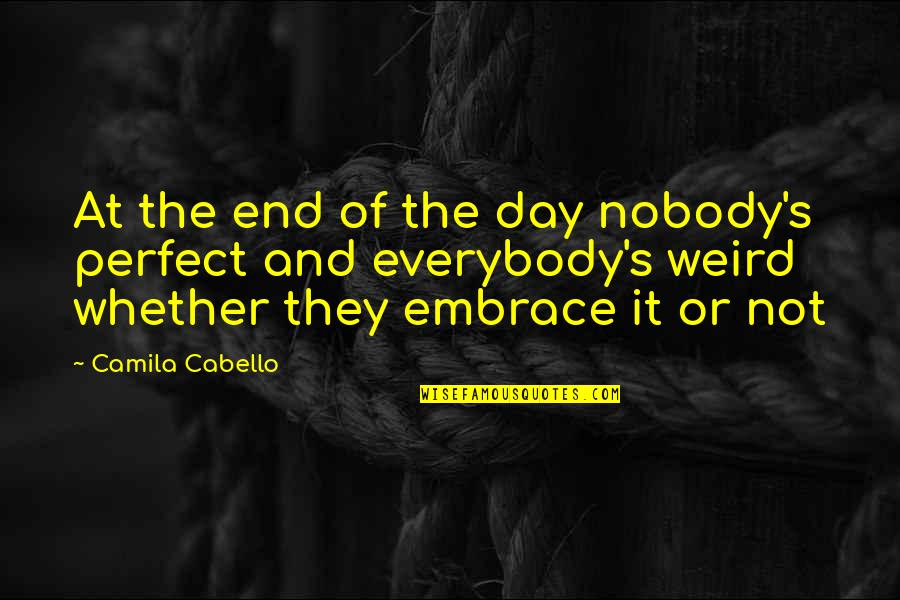 This Perfect Day Quotes By Camila Cabello: At the end of the day nobody's perfect
