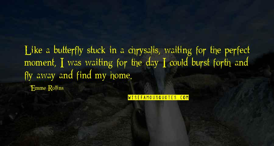 This Perfect Day Quotes By Emme Rollins: Like a butterfly stuck in a chrysalis, waiting