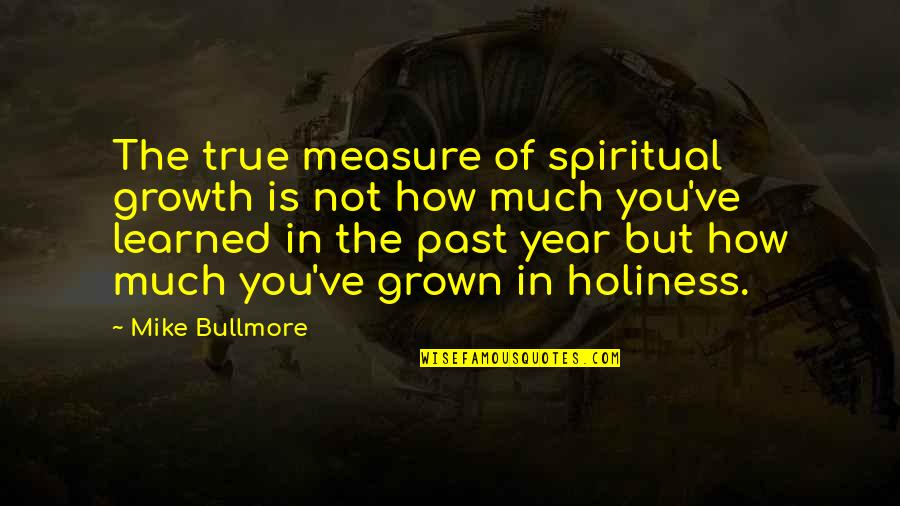 This Year I've Learned Quotes By Mike Bullmore: The true measure of spiritual growth is not