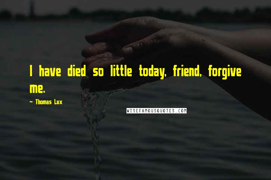 Thomas Lux quotes: I have died so little today, friend, forgive me.