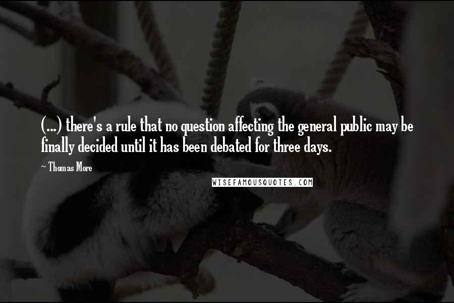 Thomas More quotes: (...) there's a rule that no question affecting the general public may be finally decided until it has been debated for three days.