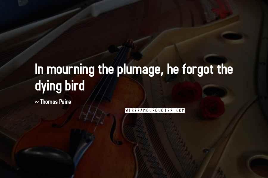 Thomas Paine quotes: In mourning the plumage, he forgot the dying bird