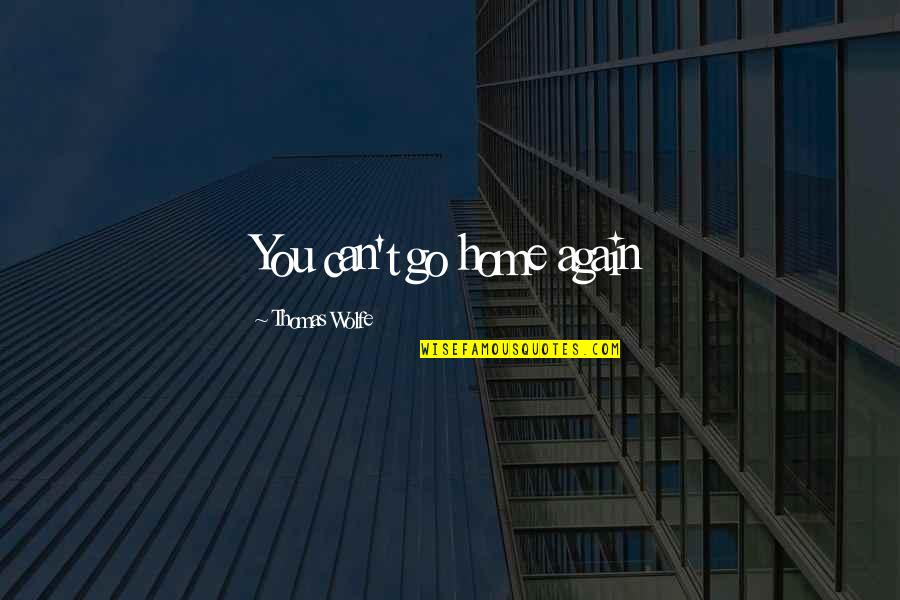 Thomas Wolfe Quotes By Thomas Wolfe: You can't go home again