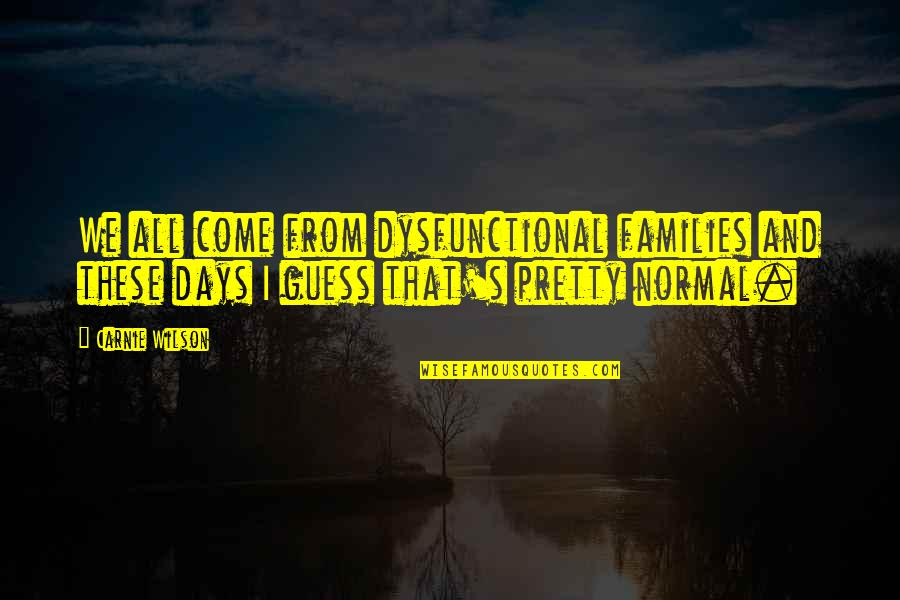 Those Were The Best Days Quotes By Carnie Wilson: We all come from dysfunctional families and these