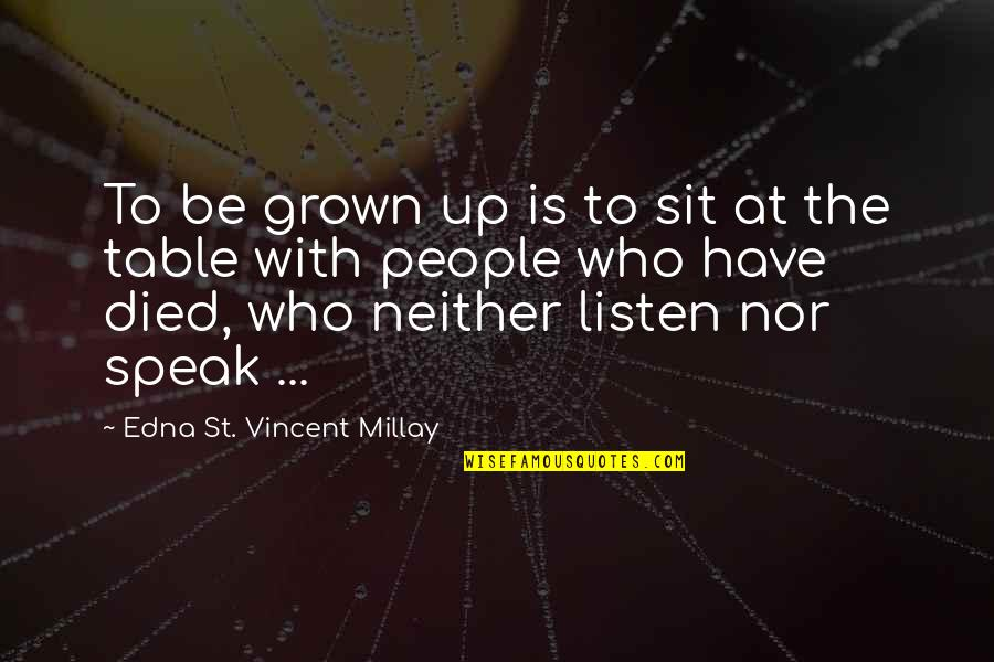 Those Who Have Died Quotes By Edna St. Vincent Millay: To be grown up is to sit at