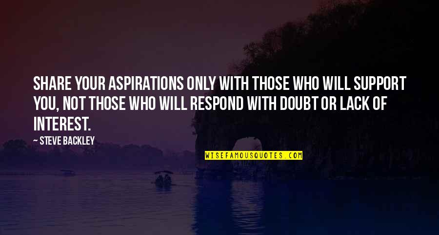 Those Who Support You Quotes By Steve Backley: Share your aspirations only with those who will