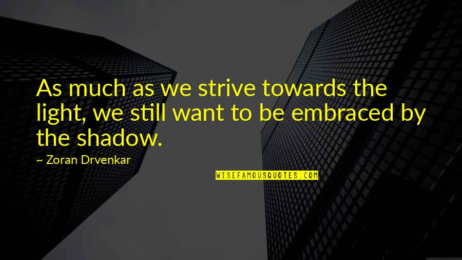 Thought Provoking Life Quotes By Zoran Drvenkar: As much as we strive towards the light,