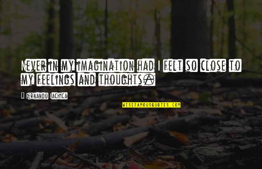 Thoughts And Feelings Quotes By Fernando Lachica: Never in my imagination had I felt so