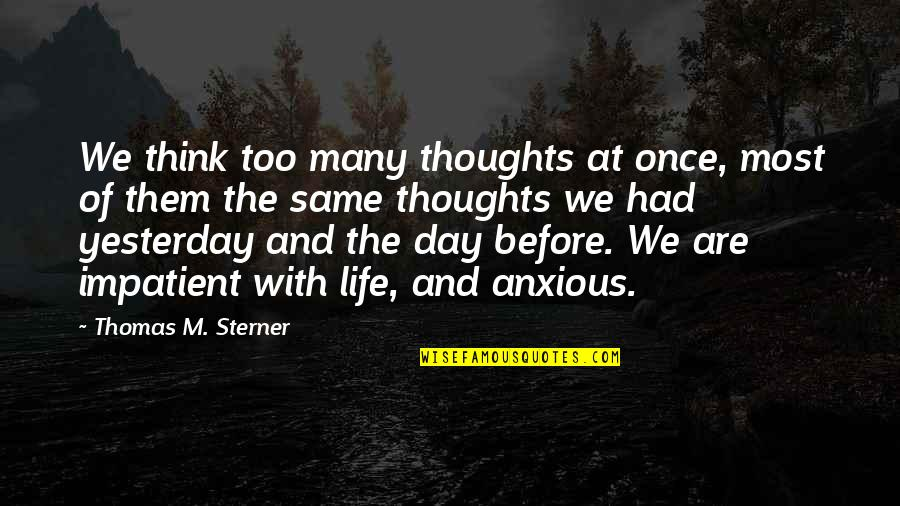 Thoughts The Day Quotes By Thomas M. Sterner: We think too many thoughts at once, most