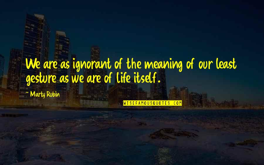 Thriftiest Quotes By Marty Rubin: We are as ignorant of the meaning of