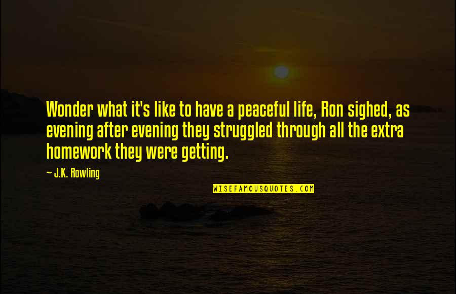 Through It All Quotes By J.K. Rowling: Wonder what it's like to have a peaceful