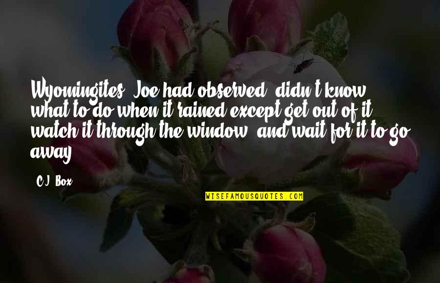 Through The Window Quotes By C.J. Box: Wyomingites, Joe had observed, didn't know what to