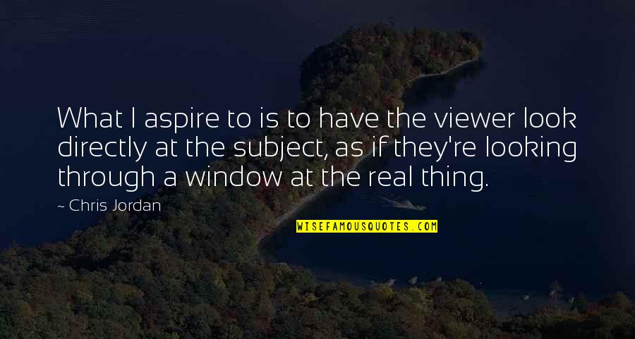 Through The Window Quotes By Chris Jordan: What I aspire to is to have the