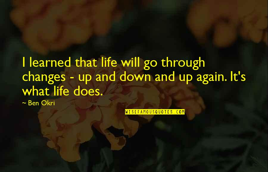 Through Up And Down Quotes By Ben Okri: I learned that life will go through changes