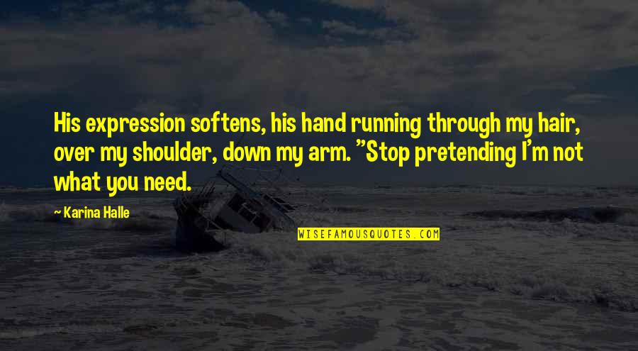 Through Up And Down Quotes By Karina Halle: His expression softens, his hand running through my