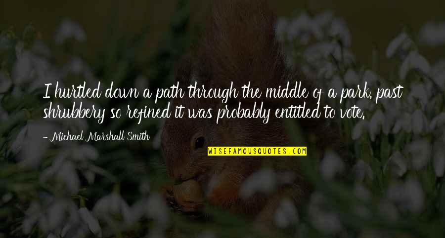 Through Up And Down Quotes By Michael Marshall Smith: I hurtled down a path through the middle