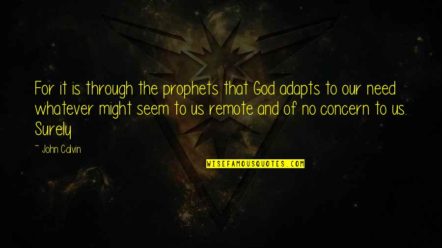 Through Whatever Quotes By John Calvin: For it is through the prophets that God