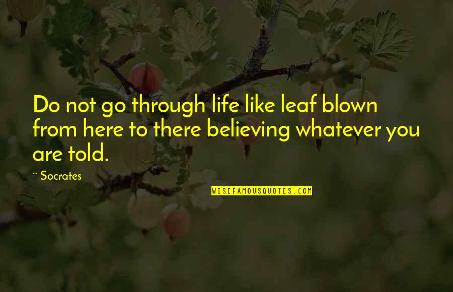 Through Whatever Quotes By Socrates: Do not go through life like leaf blown