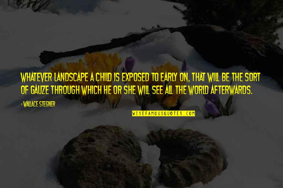 Through Whatever Quotes By Wallace Stegner: Whatever landscape a child is exposed to early