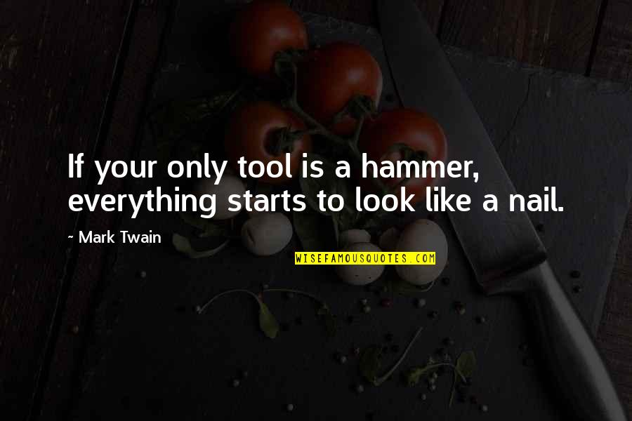 Throwing Shot Put Quotes By Mark Twain: If your only tool is a hammer, everything
