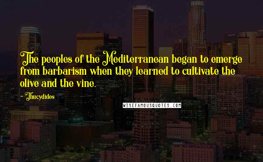 Thucydides quotes: The peoples of the Mediterranean began to emerge from barbarism when they learned to cultivate the olive and the vine.