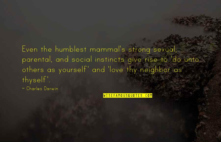 Thyself'as Quotes By Charles Darwin: Even the humblest mammal's strong sexual, parental, and