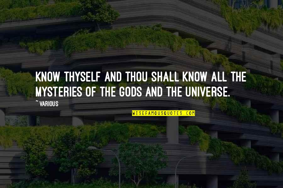 Thyself'as Quotes By Various: Know thyself and thou shall know all the
