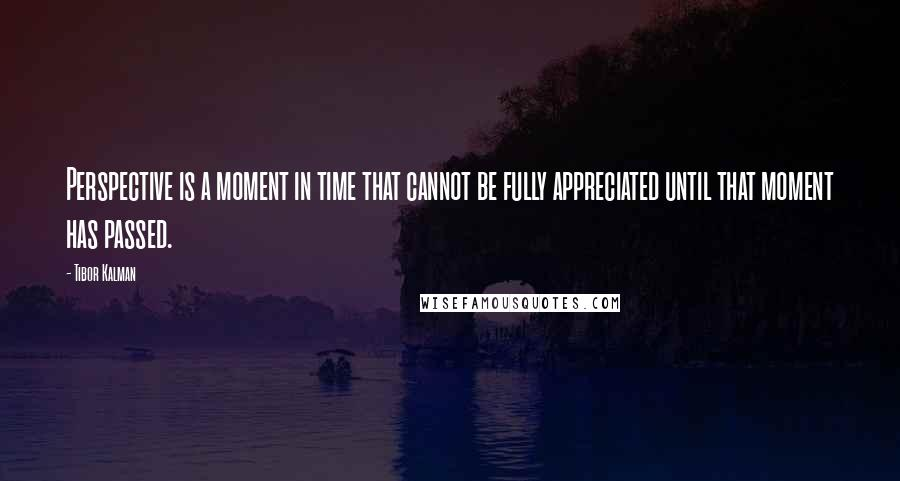 Tibor Kalman quotes: Perspective is a moment in time that cannot be fully appreciated until that moment has passed.