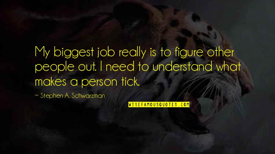 Tick Quotes By Stephen A. Schwarzman: My biggest job really is to figure other