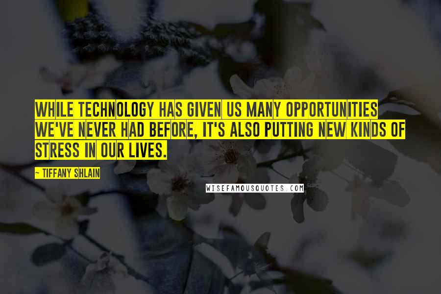 Tiffany Shlain quotes: While technology has given us many opportunities we've never had before, it's also putting new kinds of stress in our lives.