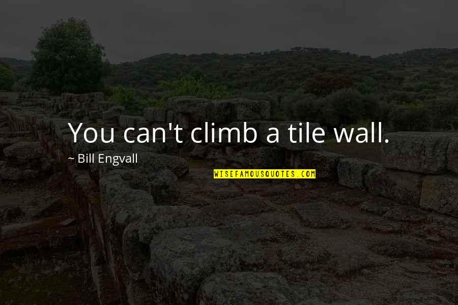Tiles Quotes By Bill Engvall: You can't climb a tile wall.