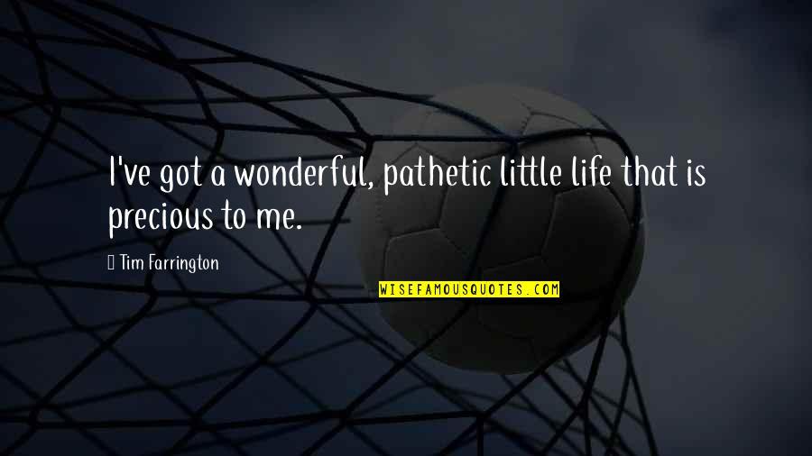 Tim Farrington Quotes By Tim Farrington: I've got a wonderful, pathetic little life that