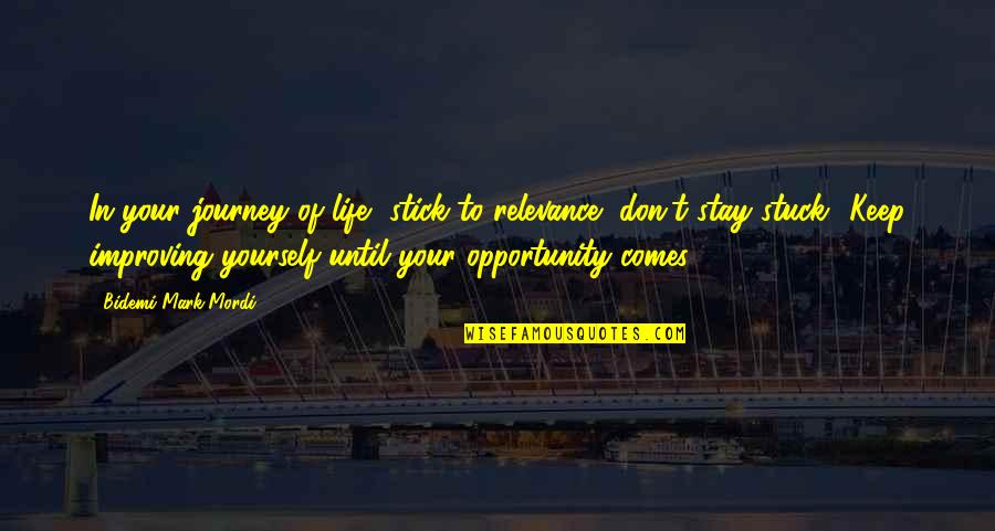 Tim Hudak Quotes By Bidemi Mark-Mordi: In your journey of life, stick to relevance,