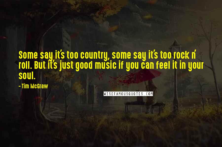 Tim McGraw quotes: Some say it's too country, some say it's too rock n' roll. But it's just good music if you can feel it in your soul.