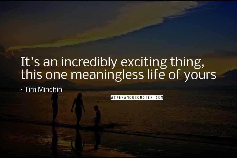 Tim Minchin quotes: It's an incredibly exciting thing, this one meaningless life of yours