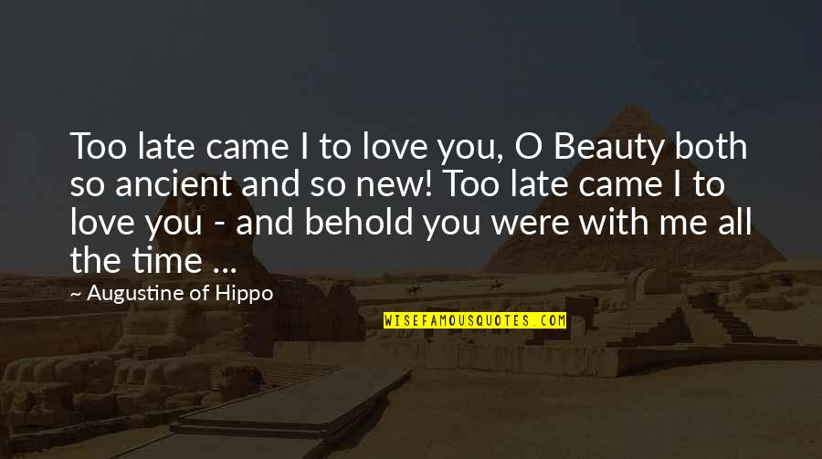 Time And Beauty Quotes By Augustine Of Hippo: Too late came I to love you, O